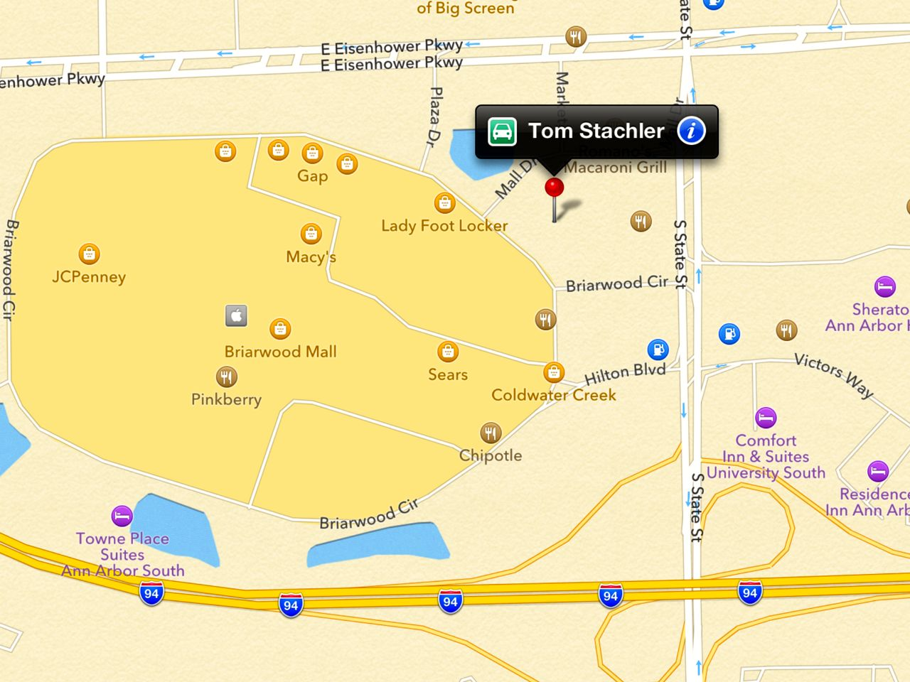 Map to Real Estate One Location in Ann Arbor